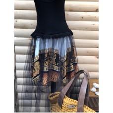 Ефирна дамска рокля с тюл черна/Summer black yellow animal print Dress