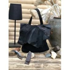 Малка дамска чанта кожа и дантела/little black  ribbon lace ladies bag