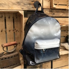 Blue patent backpack