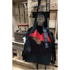 Black red leather fur bag